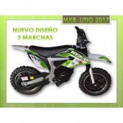 minimoto cross eléctrica MX8 500w, baterías de litio