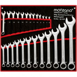 Juego de 25 llaves fijas de 6 hasta 32 mm piezas herramientas en cromado mate con bolsillo enrollable